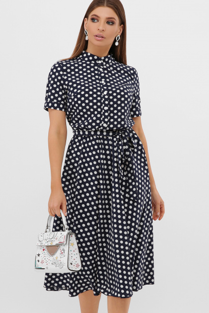 . платье Изольда-Б к/р. Цвет: синий-белый горох с.