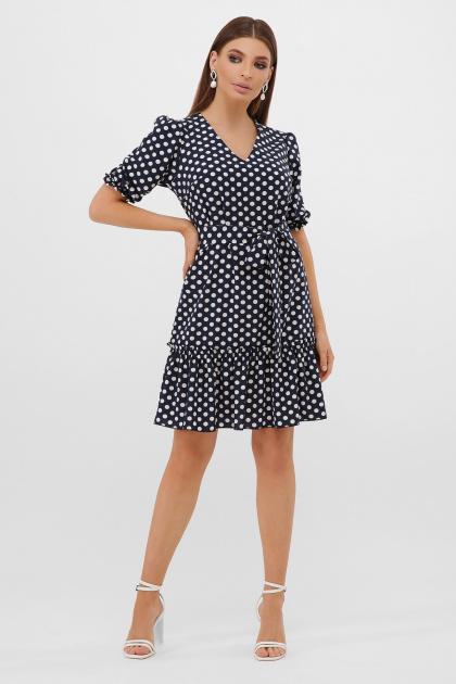 короткое платье с принтом. платье Мальвина к/р. Цвет: синий-белый горох с.