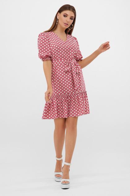 горчичное платье в горошек. платье Мальвина к/р. Цвет: т.розовый-белый горох с.