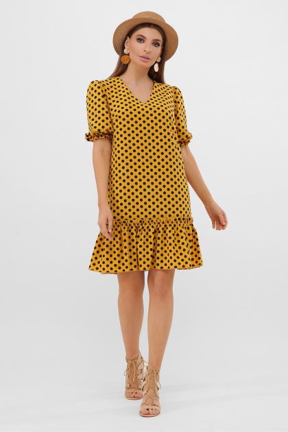короткое платье с принтом. платье Мальвина к/р. Цвет: горчица-черный горох с.