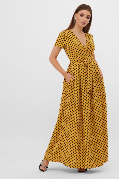 горчичное платье макси. платье Шайни к/р. Цвет: горчица-черный горох с.