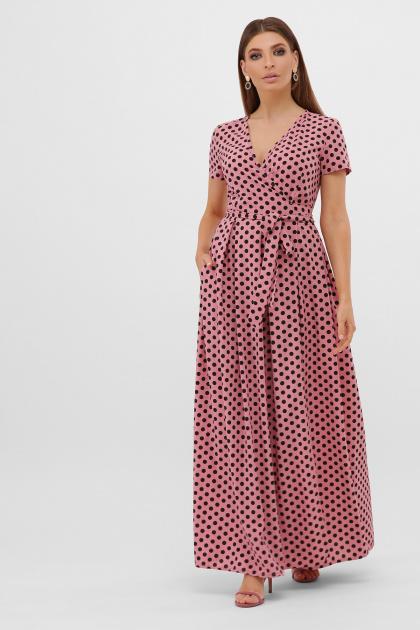 горчичное платье макси. платье Шайни к/р. Цвет: розовый-черный горох с.