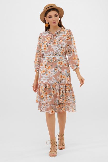 белое платье с цветочным рисунком. платье Элисон 3/4. Цвет: бежевый-цветы оранж.