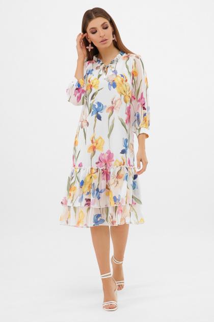 белое платье с цветочным рисунком. платье Элисон 3/4. Цвет: белый-ирисы