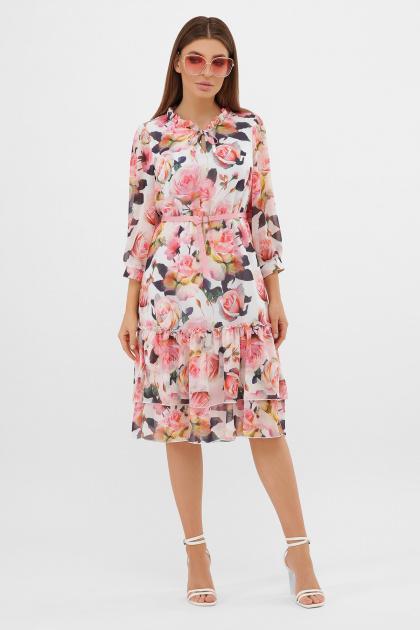 белое платье с цветочным рисунком. платье Элисон 3/4. Цвет: белый-розы