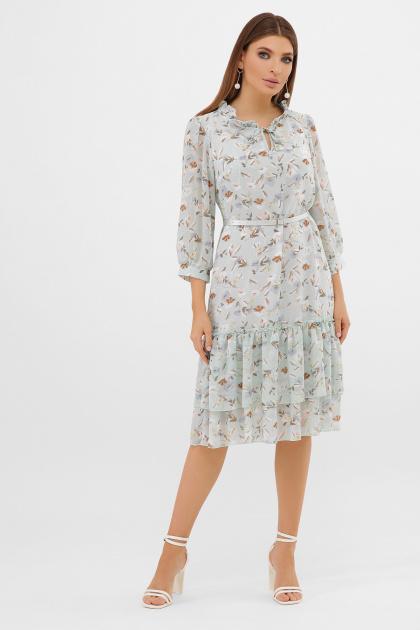 белое платье с цветочным рисунком. платье Элисон 3/4. Цвет: мята-цветы