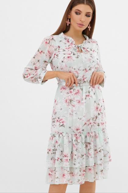 белое платье с цветочным рисунком. платье Элисон 3/4. Цвет: мята-цветы розов.