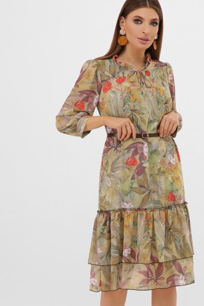 шифоновое платье цвета оливки. платье Элисон 3/4. Цвет: оливка-цветы-листья
