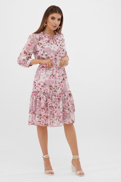 белое платье с цветочным рисунком. платье Элисон 3/4. Цвет: розовый-цветы розов.
