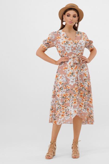 платье с розами на запах. платье Алеста к/р. Цвет: бежевый-цветы оранж.