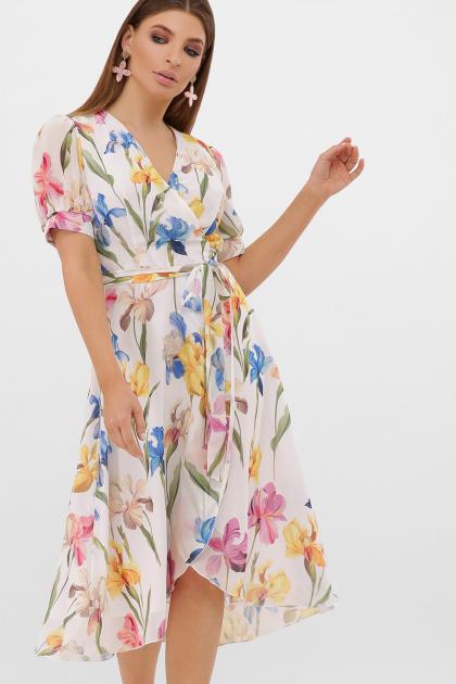 цветастое платье из шифона. платье Алеста к/р. Цвет: белый-ирисы