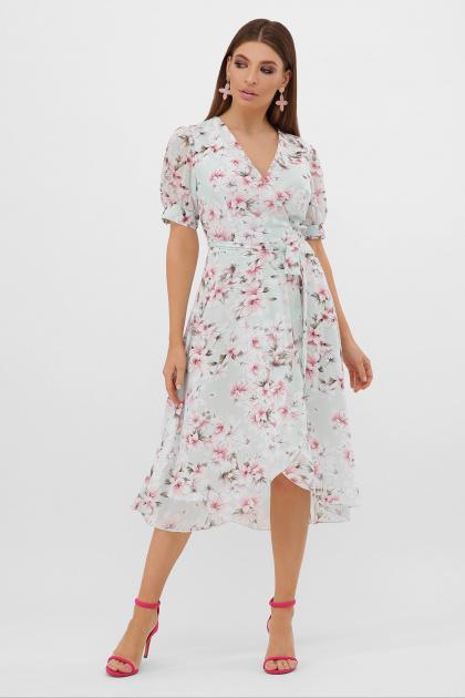 цветастое платье из шифона. платье Алеста к/р. Цвет: мята-цветы розов.