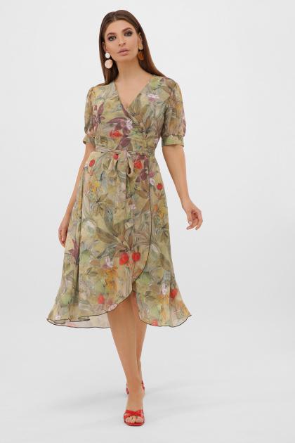 . Платье Алеста к/р. Цвет: оливка-цветы-листья