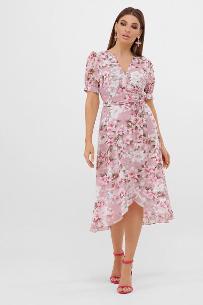 цветастое платье из шифона. платье Алеста к/р. Цвет: розовый-цветы розов.