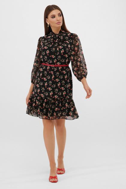 платье из шифона с рукавом три четверти. платье Малика д/р. Цвет: черный-роза красная