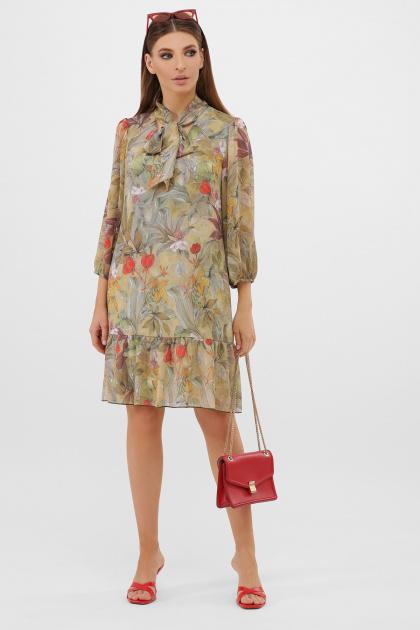 платье из шифона с рукавом три четверти. платье Малика д/р. Цвет: оливка-цветы-листья