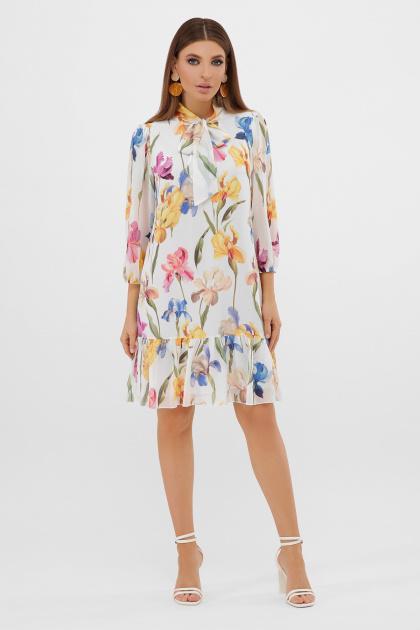 платье из шифона с рукавом три четверти. платье Малика д/р. Цвет: белый-ирисы