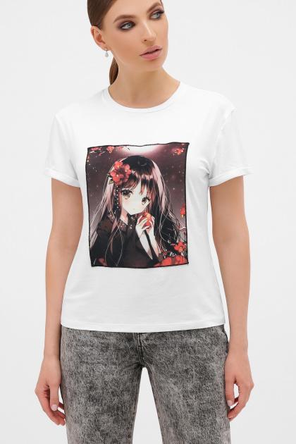 оригинальная футболка аниме. Девочка с яблоком футболка Boy-2  П. Цвет: белый