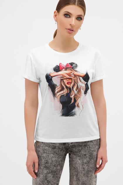 футболка с принтом для девушек. Девушка с бантом Футболка Boy-2. Цвет: белый