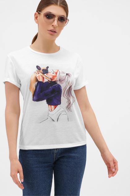 летняя футболка с принтом. Девушка с собачкой футболка Boy-2. Цвет: белый