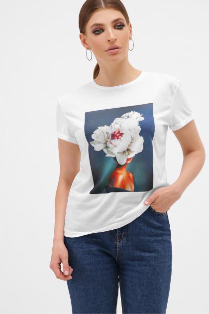 летняя футболка с пионами. серый-Пион белый Футболка Boy-2. Цвет: белый