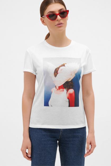 летняя футболка с перьями. голубой-Перья белые Футболка Boy-2. Цвет: белый