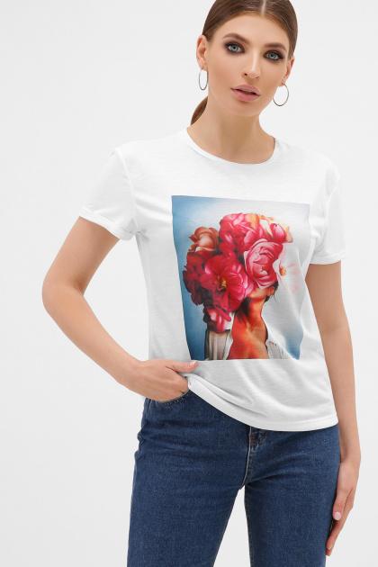 женская футболка с пионами. голубой-Пионы розовые футболка Boy-2. Цвет: белый