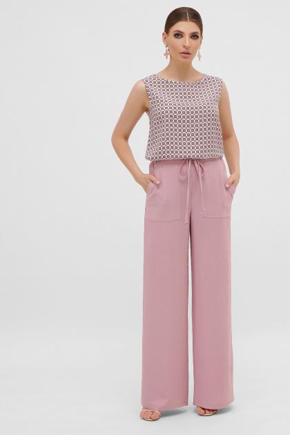 летние бежевые брюки. брюки Тилли. Цвет: пыльная роза