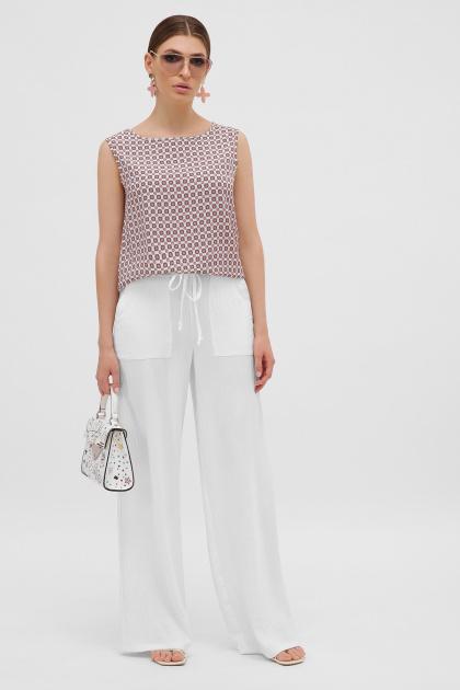 широкие розовые брюки. брюки Тилли. Цвет: молоко