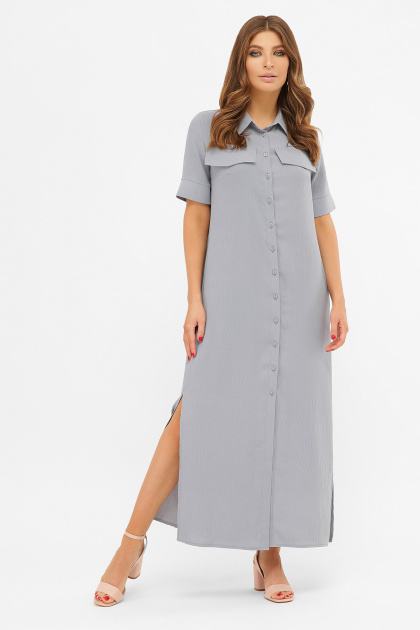 длинное розовое платье-рубашка. платье-рубашка Мелиса к/р. Цвет: св.джинс