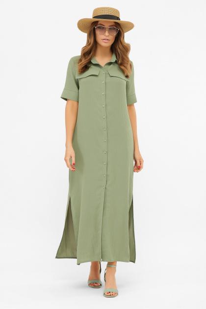 бежевое рубашечное платье. платье-рубашка Мелиса к/р. Цвет: св.хаки