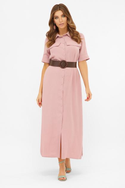 длинное розовое платье-рубашка. платье-рубашка Мелиса к/р. Цвет: пыльная роза