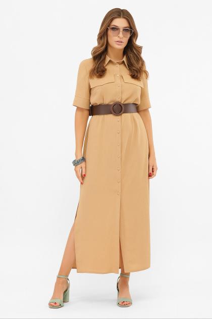 бежевое рубашечное платье. платье-рубашка Мелиса к/р. Цвет: темно бежевый