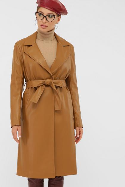 кожаный плащ коричневого цвета. Плащ 108-100 (К). Колір: 606-горчица