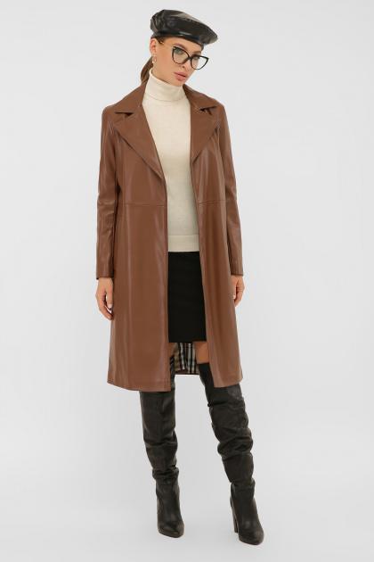 кожаный плащ коричневого цвета. Плащ 108-100 (К). Колір: 607-коричневый