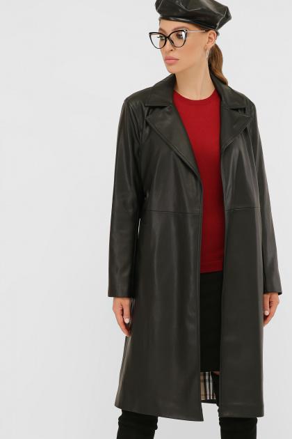 кожаный плащ коричневого цвета. Плащ 108-100 (К). Колір: 601-черный