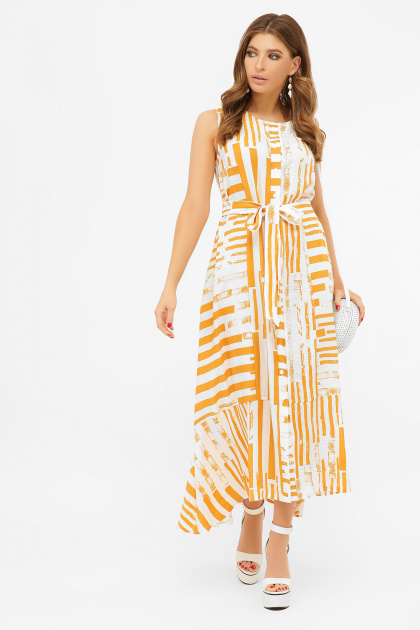 свободное длинное платье. платье Дасия б/р. Цвет: белый-горчица полоса