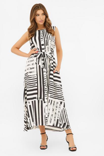 свободное длинное платье. платье Дасия б/р. Цвет: белый-черная полоса