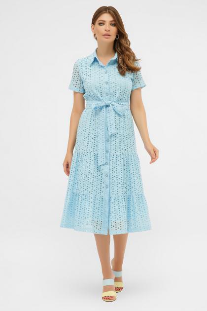 желтое платье на пуговицах. платье Уника 1 к/р. Цвет: голубой