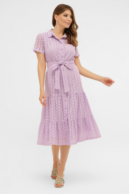 желтое платье на пуговицах. платье Уника 1 к/р. Цвет: лавандовый