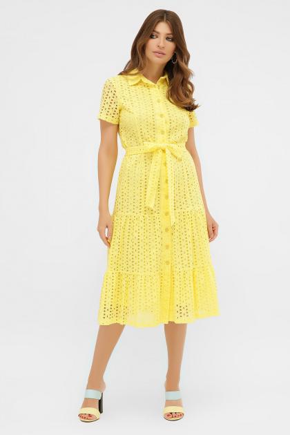 желтое платье на пуговицах. платье Уника 1 к/р. Цвет: желтый