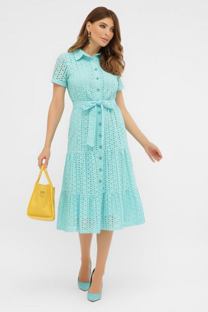 желтое платье на пуговицах. платье Уника 1 к/р. Цвет: бирюза