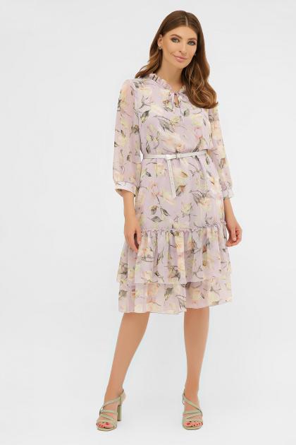белое платье с цветочным рисунком. платье Элисон 3/4. Цвет: сиреневый- роза ваниль
