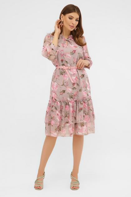 белое платье с цветочным рисунком. платье Элисон 3/4. Цвет: капучино-розы розов.