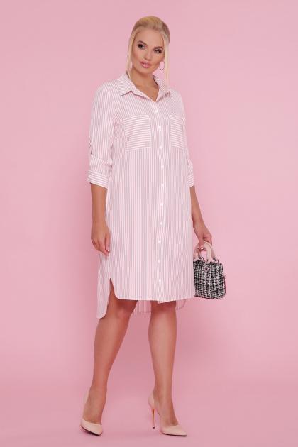 платье-рубашка больших размеров. платье Валентия-Б 3/4. Цвет: персик-полоска