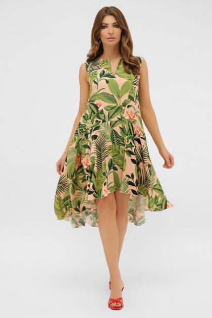 . платье Тория б/р. Цвет: персик-Тропический лист