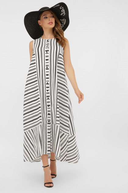 свободное длинное платье. платье Дасия б/р. Цвет: белый-черная полоса1