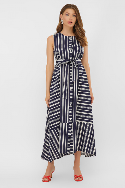 свободное длинное платье. платье Дасия б/р. Цвет: синий-белая полоса1