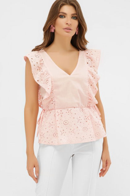 голубая летняя блузка. блуза Илари б/р. Цвет: персик