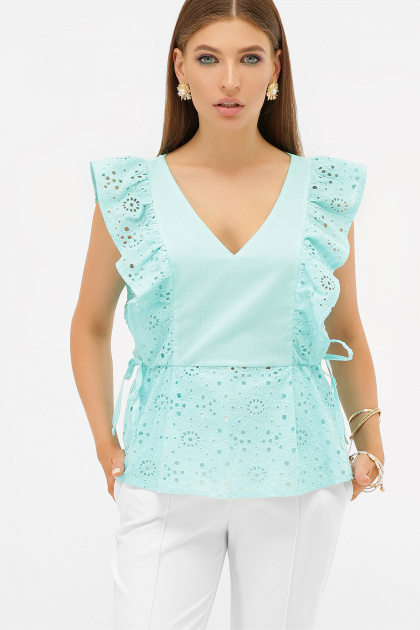 голубая летняя блузка. блуза Илари б/р. Цвет: бирюза